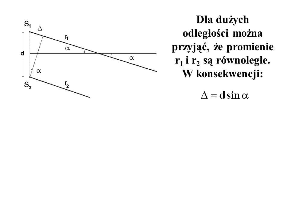 Dla dużych odległości można przyjąć, że promienie r1 i r2 są równoległe. W konsekwencji: