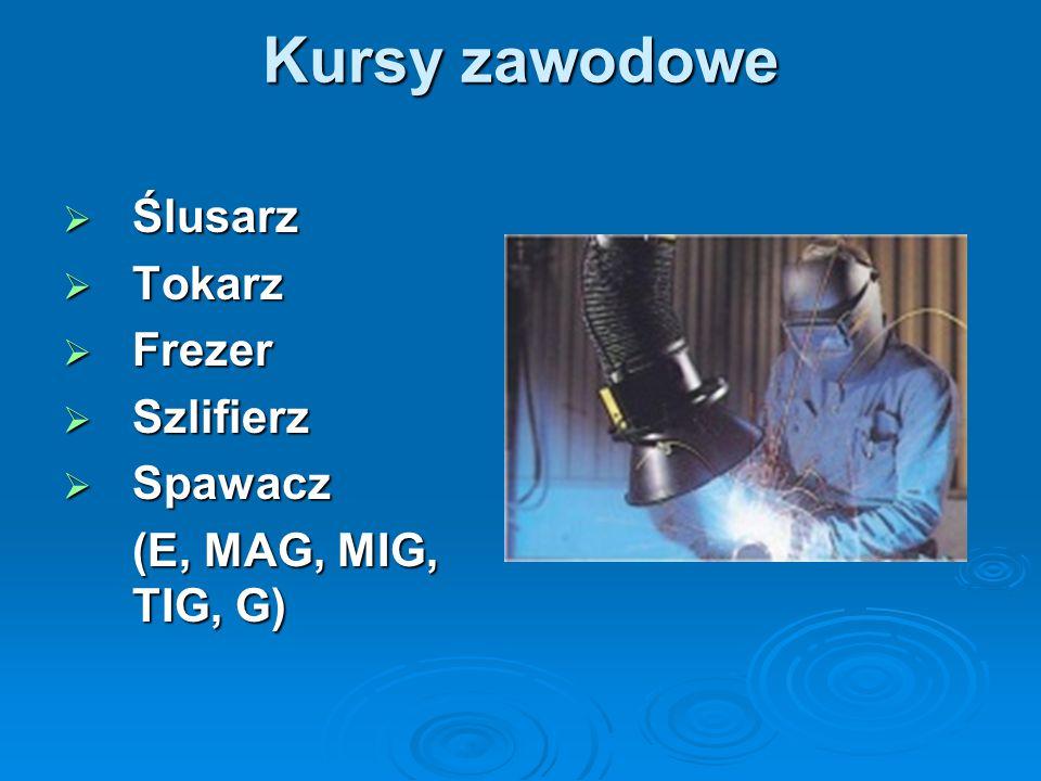 Kursy zawodowe Ślusarz Tokarz Frezer Szlifierz Spawacz