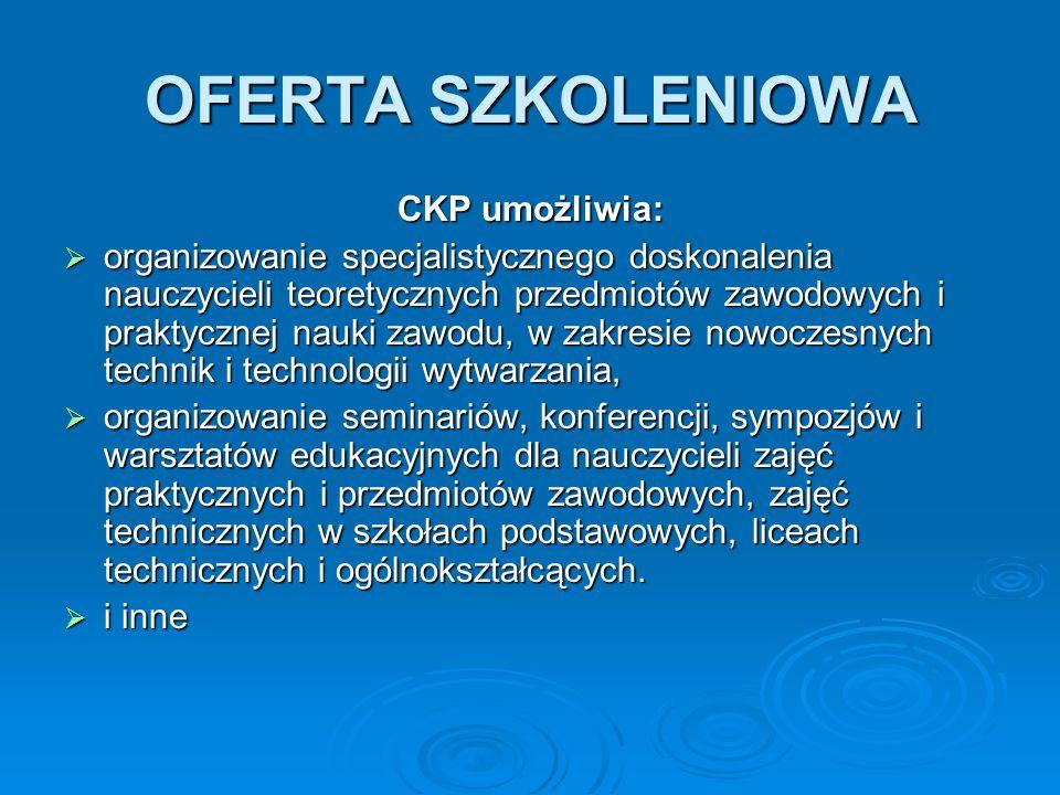 OFERTA SZKOLENIOWA CKP umożliwia: