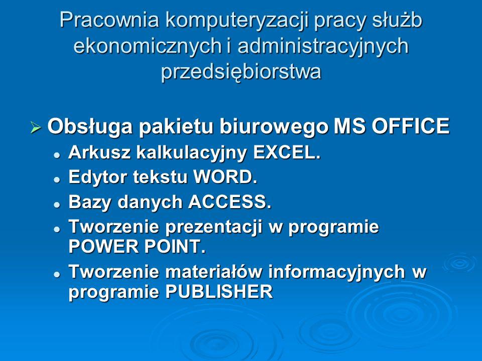 Obsługa pakietu biurowego MS OFFICE