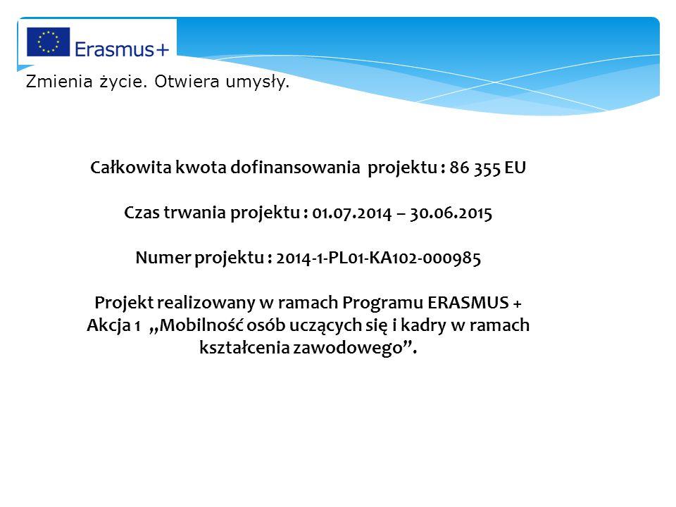 Całkowita kwota dofinansowania projektu : 86 355 EU