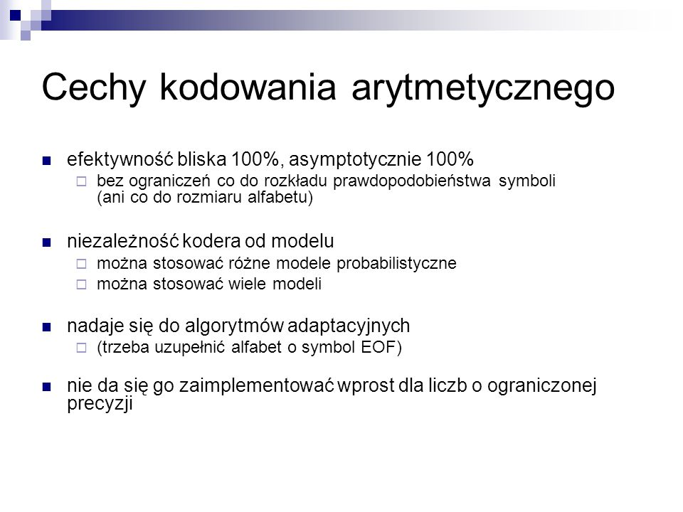 Cechy kodowania arytmetycznego