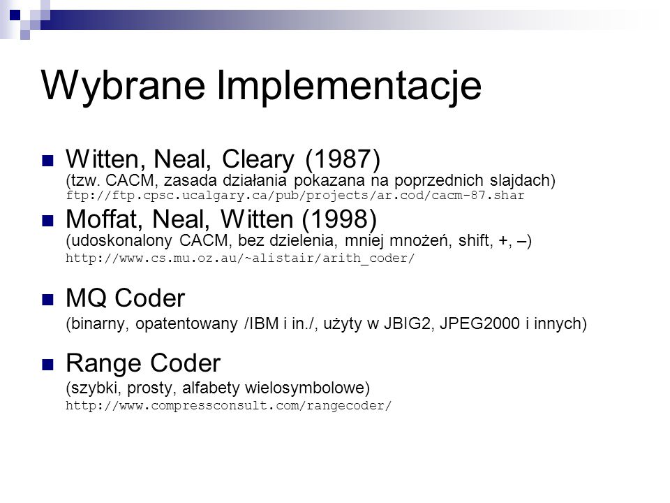 Wybrane Implementacje