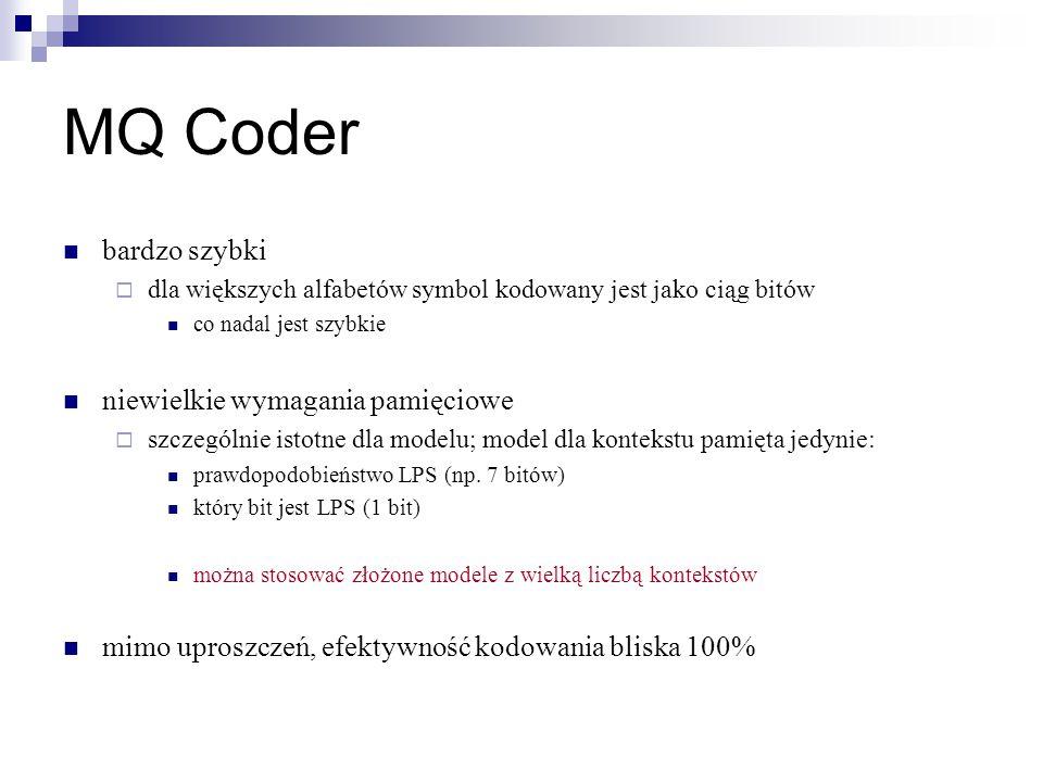 MQ Coder bardzo szybki niewielkie wymagania pamięciowe
