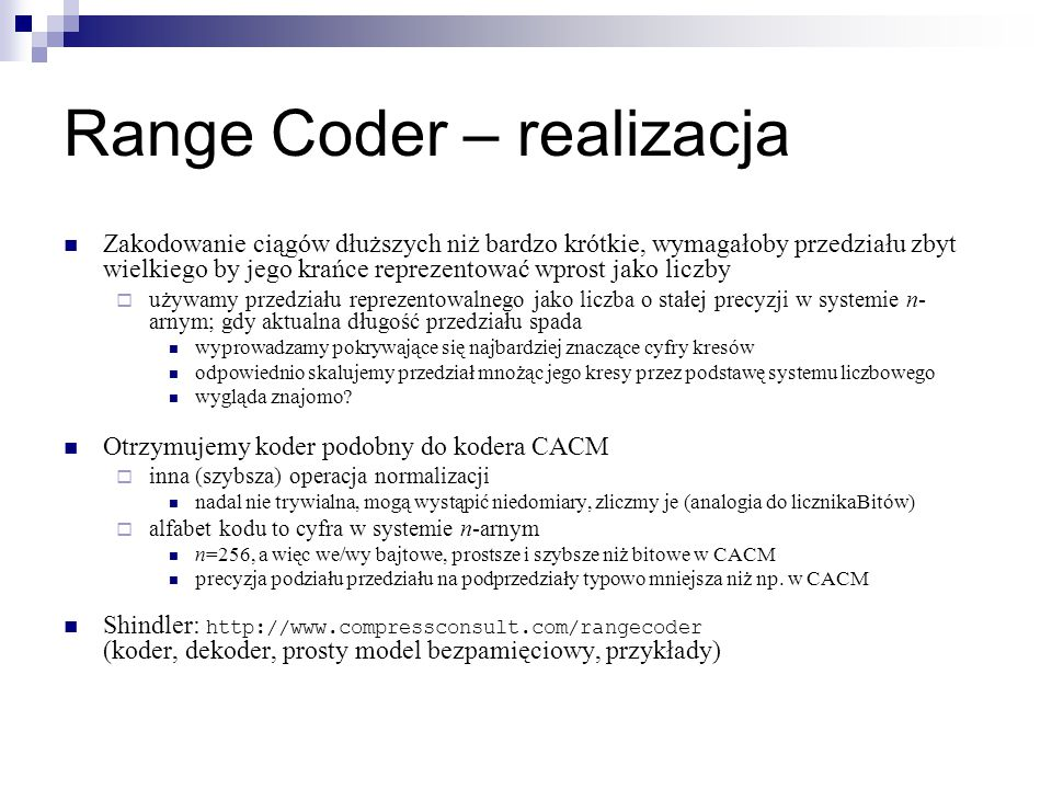 Range Coder – realizacja