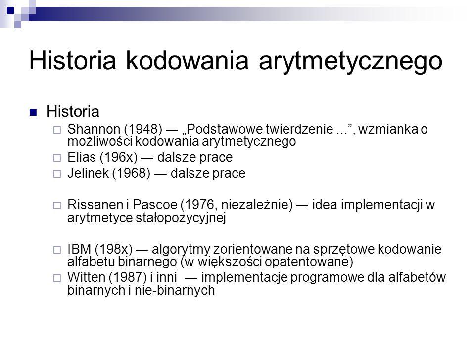 Historia kodowania arytmetycznego