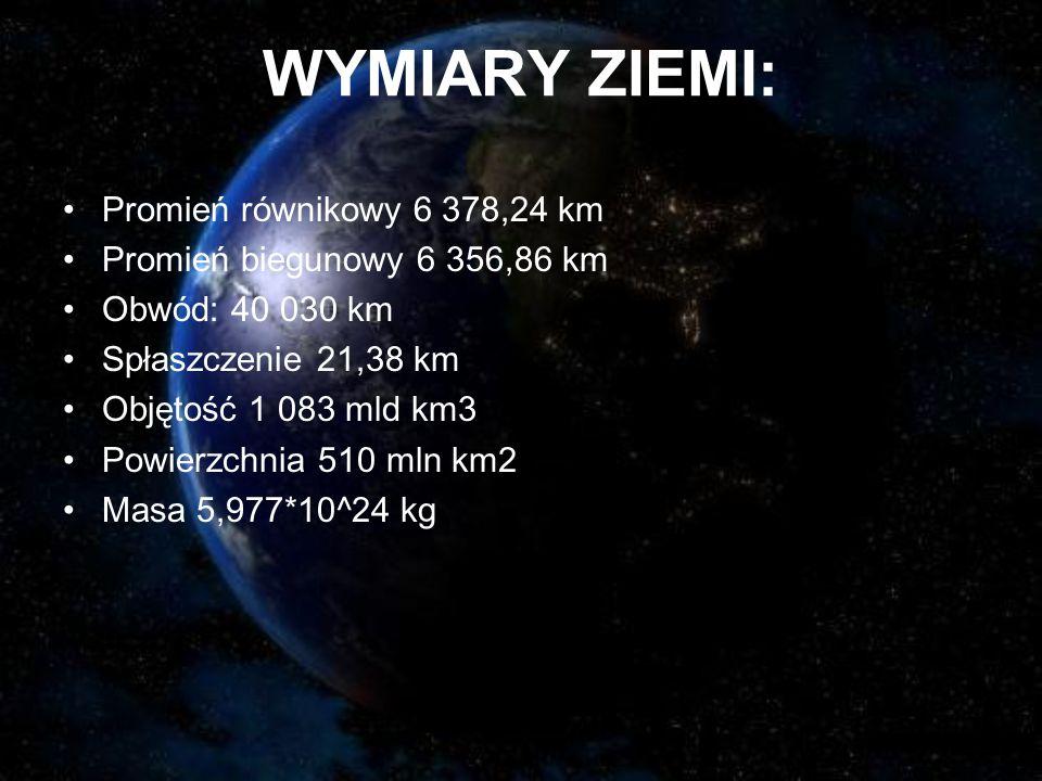 WYMIARY ZIEMI: Promień równikowy 6 378,24 km