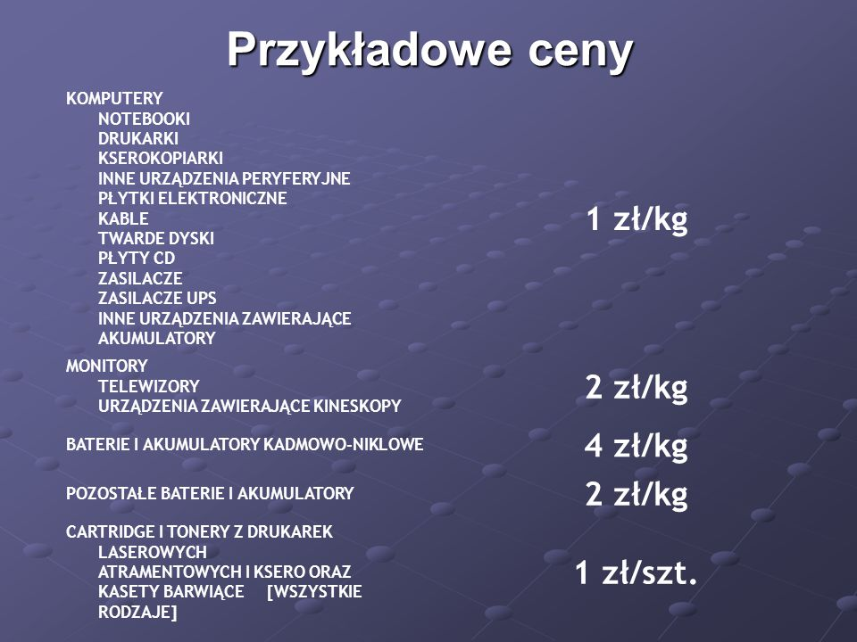 Przykładowe ceny 1 zł/kg 2 zł/kg 4 zł/kg 1 zł/szt.
