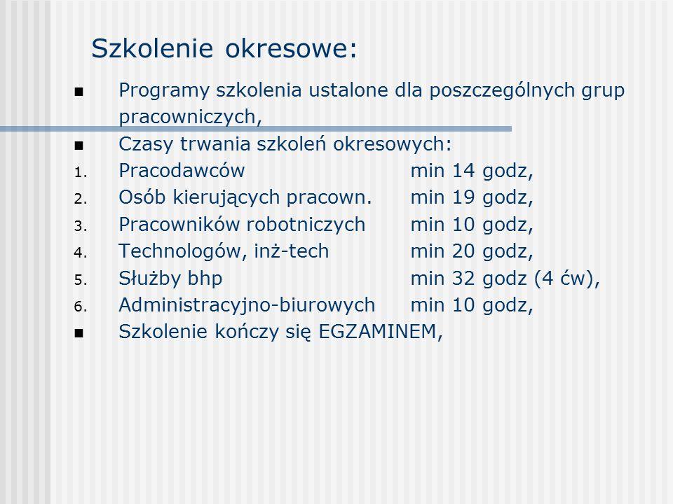 Szkolenie okresowe: Programy szkolenia ustalone dla poszczególnych grup pracowniczych, Czasy trwania szkoleń okresowych:
