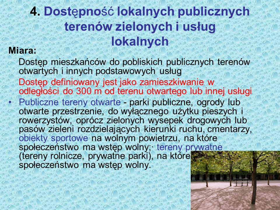 4. Dostępność lokalnych publicznych terenów zielonych i usług lokalnych