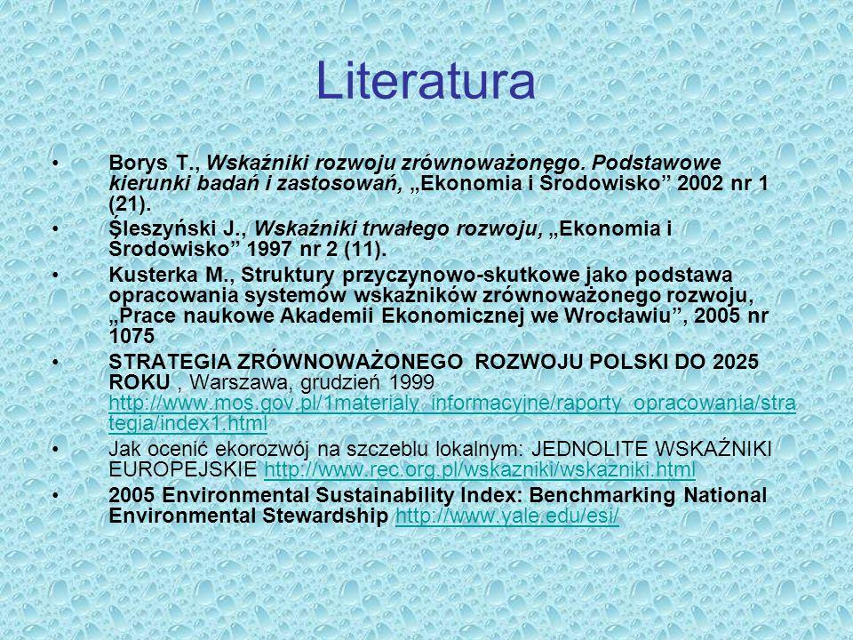 """Literatura Borys T., Wskaźniki rozwoju zrównoważonego. Podstawowe kierunki badań i zastosowań, """"Ekonomia i Środowisko 2002 nr 1 (21)."""