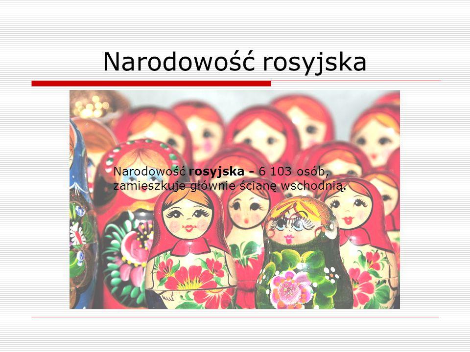 Narodowość rosyjska Narodowość rosyjska - 6 103 osób, zamieszkuje głównie ścianę wschodnią.