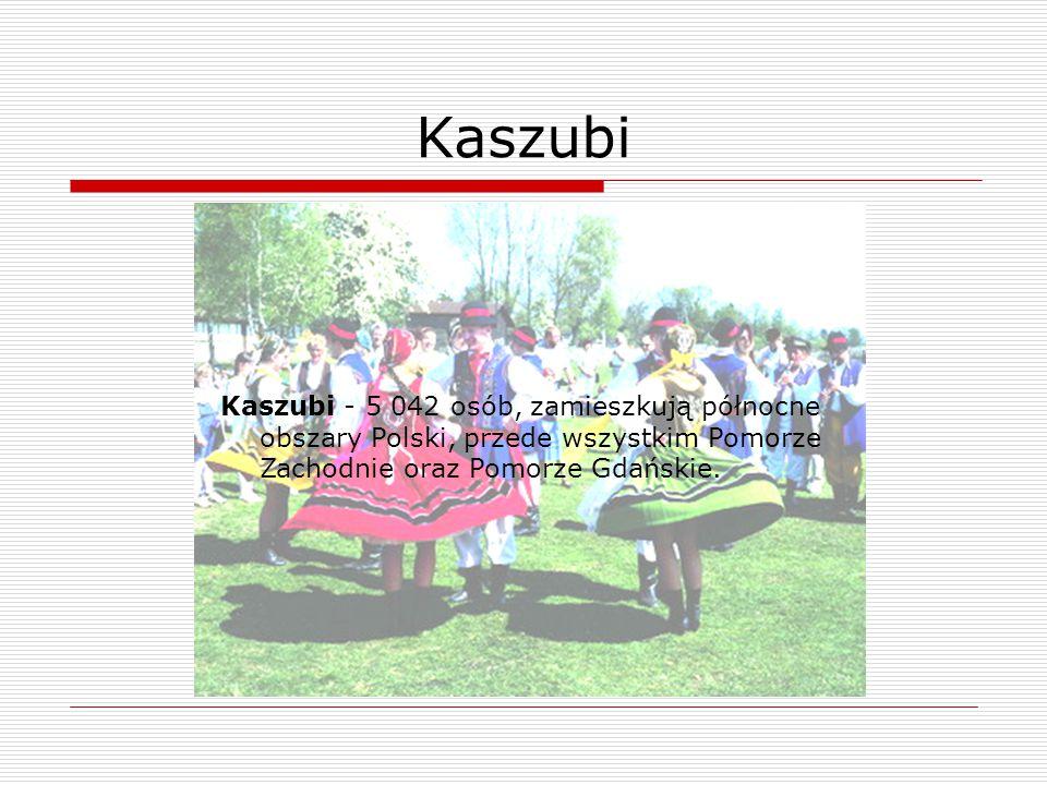 Kaszubi Kaszubi - 5 042 osób, zamieszkują północne obszary Polski, przede wszystkim Pomorze Zachodnie oraz Pomorze Gdańskie.