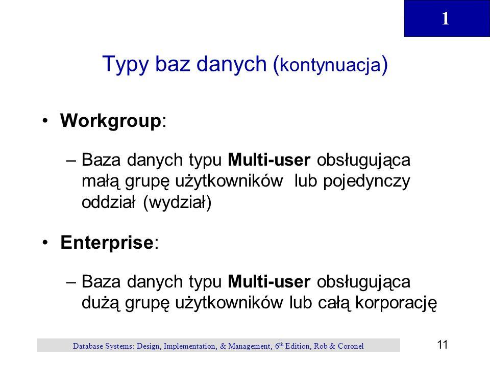 Typy baz danych (kontynuacja)