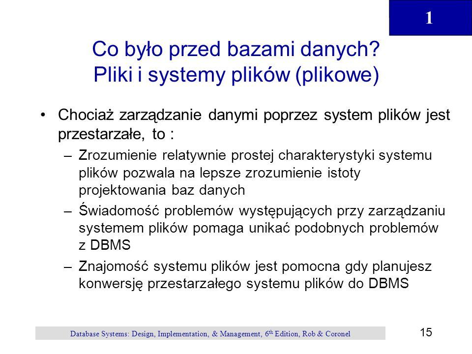 Co było przed bazami danych Pliki i systemy plików (plikowe)