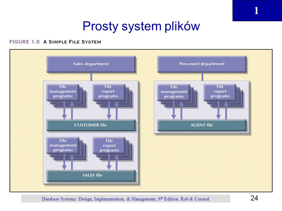 Prosty system plików Database Systems: Design, Implementation, & Management, 6th Edition, Rob & Coronel.