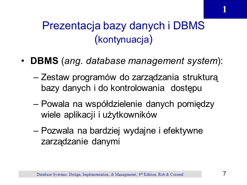 Prezentacja bazy danych i DBMS (kontynuacja)