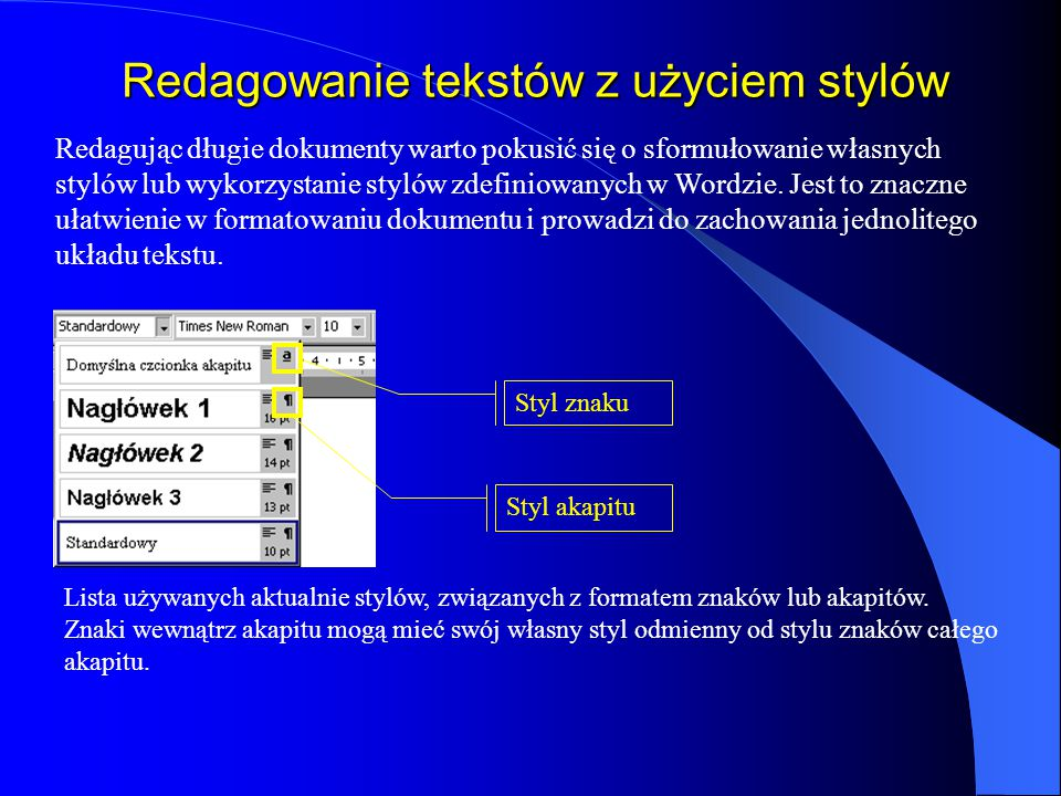 Redagowanie tekstów z użyciem stylów