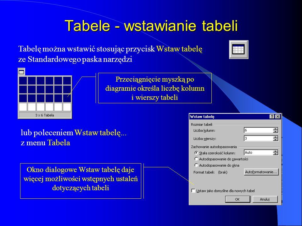Tabele - wstawianie tabeli