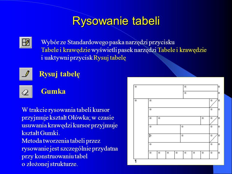 Rysowanie tabeli Rysuj tabelę Gumka