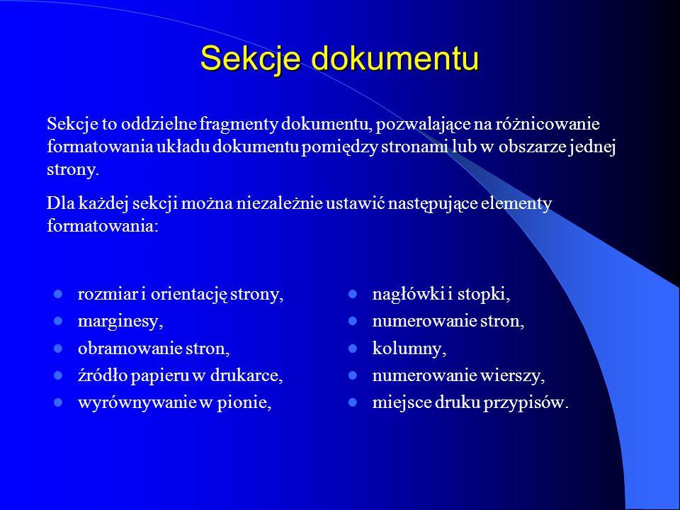 Sekcje dokumentu