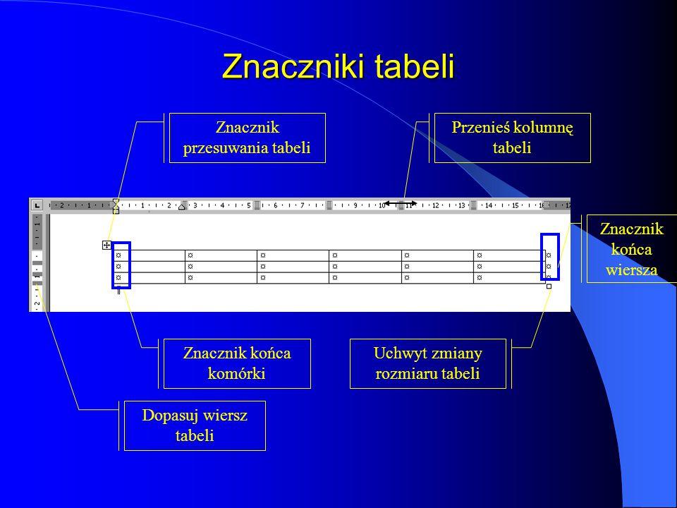 Znaczniki tabeli Znacznik przesuwania tabeli Przenieś kolumnę tabeli