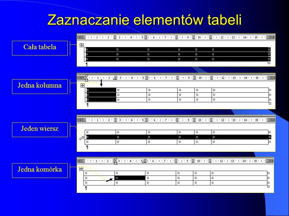 Zaznaczanie elementów tabeli