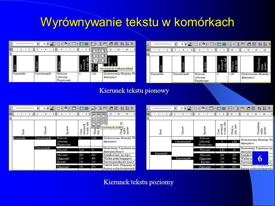 Wyrównywanie tekstu w komórkach