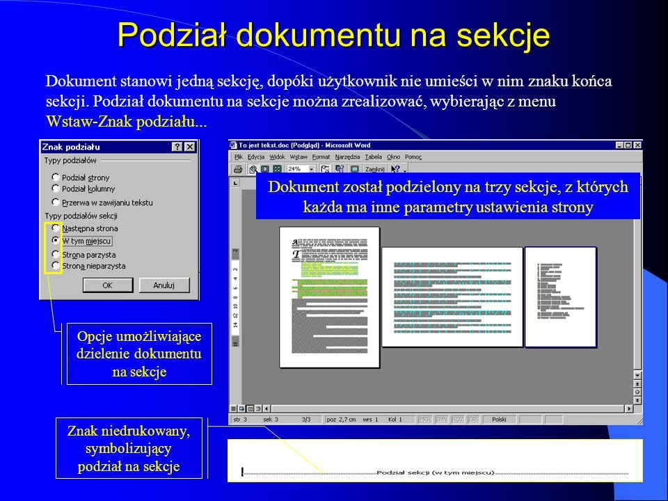 Podział dokumentu na sekcje