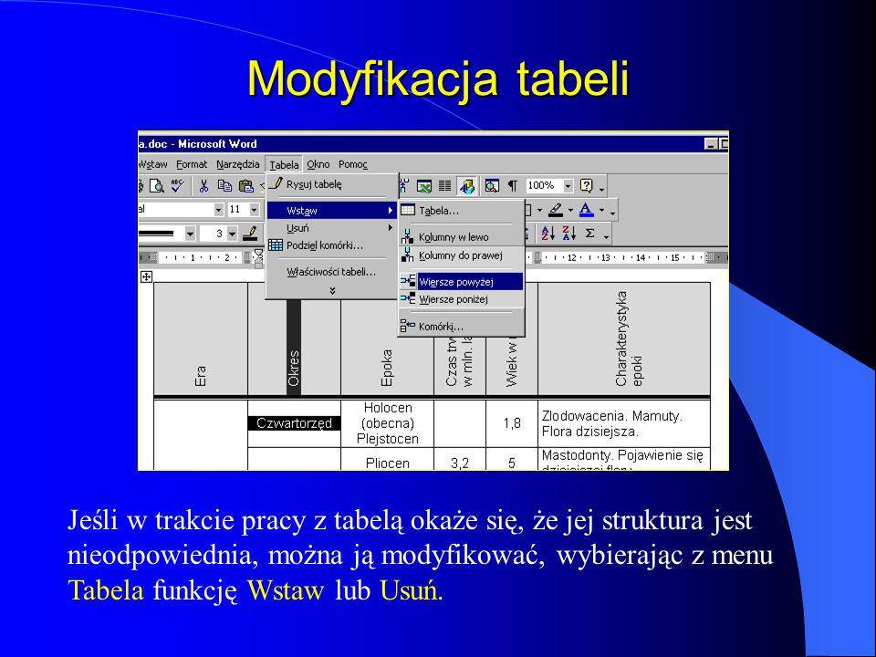 Modyfikacja tabeli
