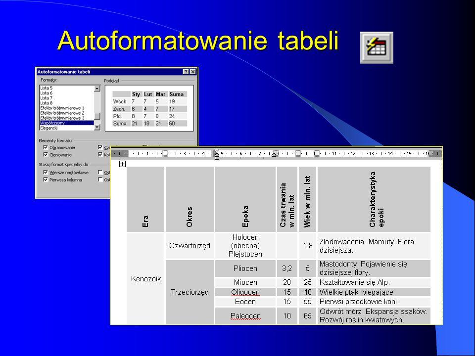 Autoformatowanie tabeli