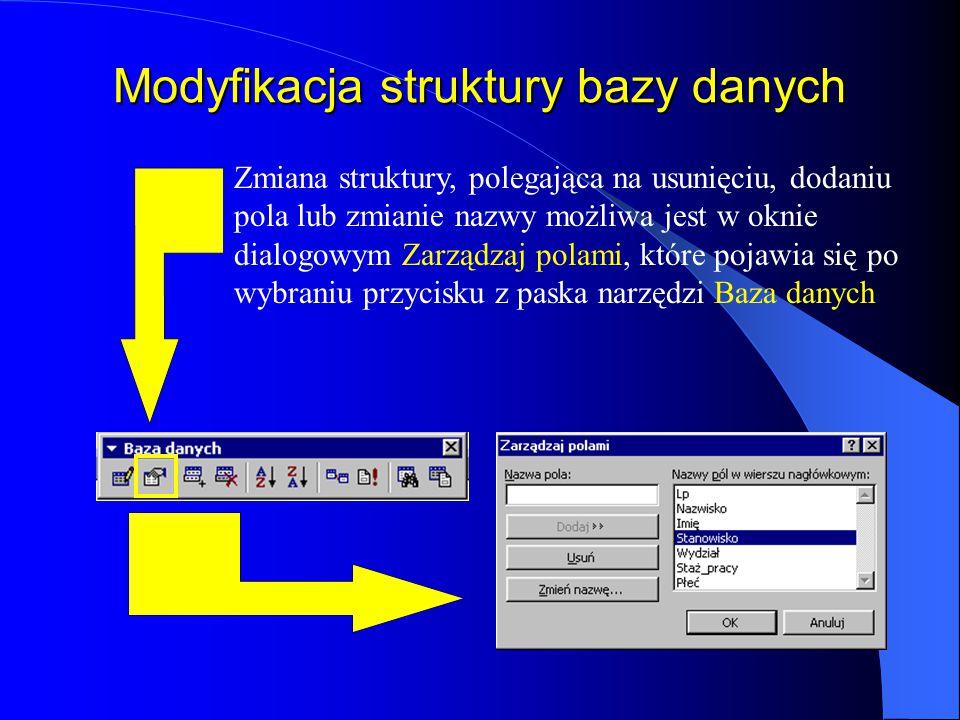 Modyfikacja struktury bazy danych
