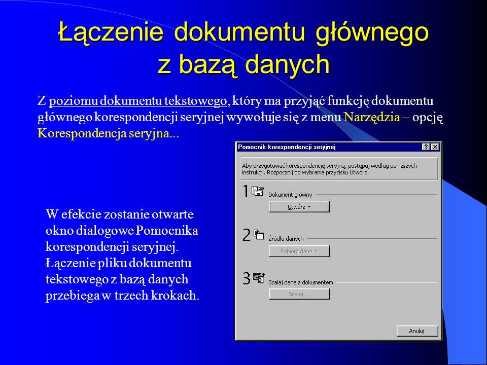 Łączenie dokumentu głównego z bazą danych