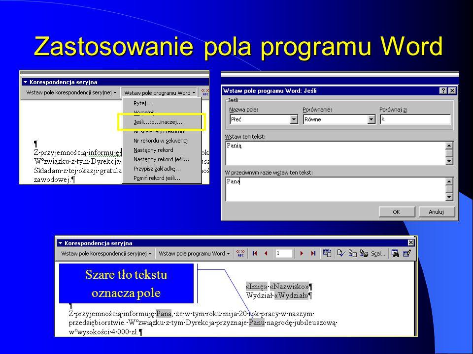 Zastosowanie pola programu Word