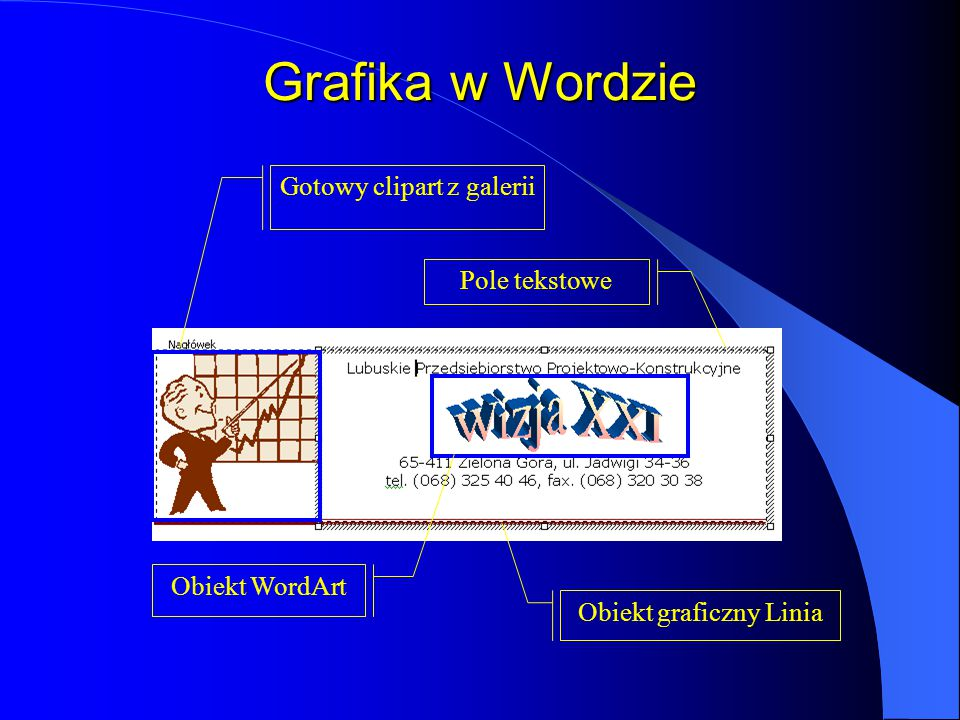 Grafika w Wordzie Gotowy clipart z galerii Pole tekstowe