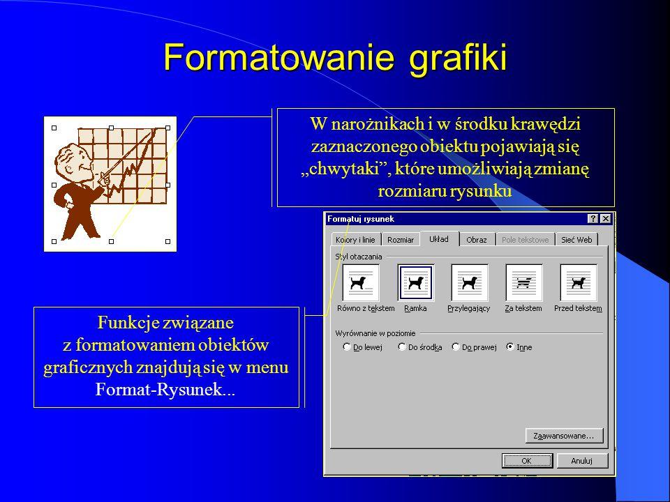 """Formatowanie grafiki W narożnikach i w środku krawędzi zaznaczonego obiektu pojawiają się """"chwytaki , które umożliwiają zmianę rozmiaru rysunku."""