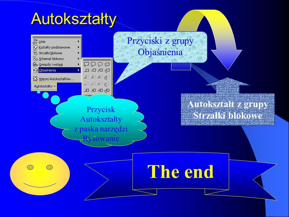 The end Autokształty Przyciski z grupy Objaśnienia Autokształt z grupy