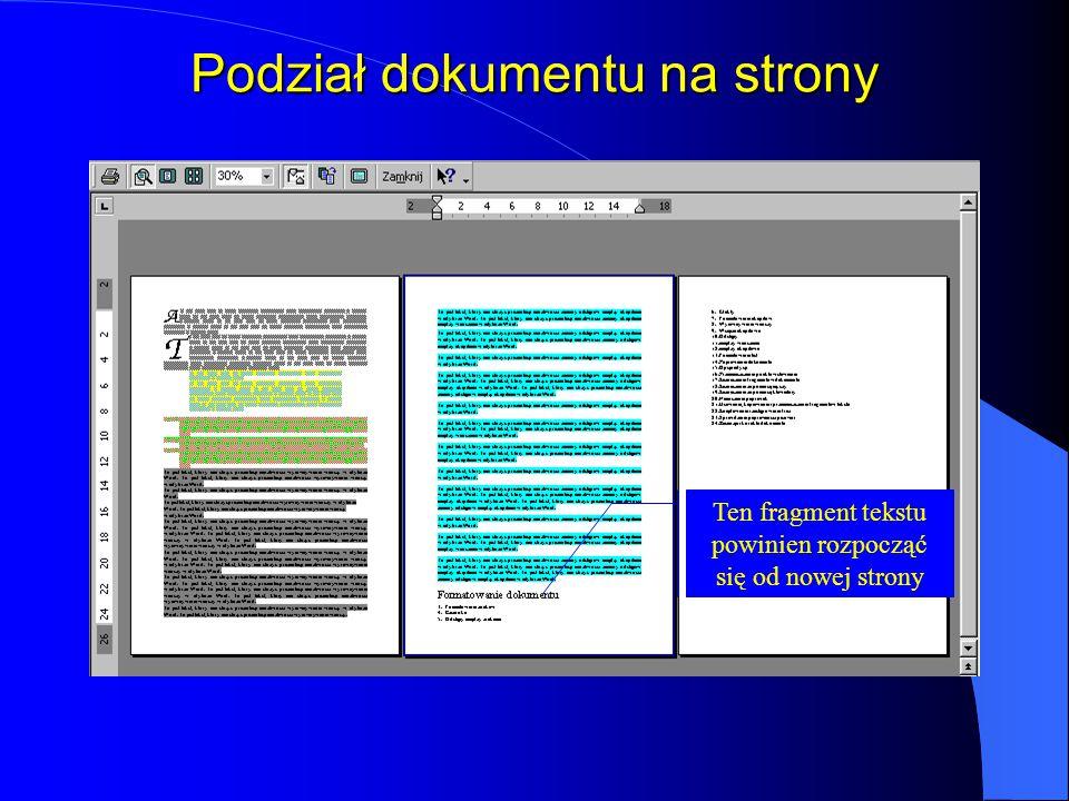 Podział dokumentu na strony