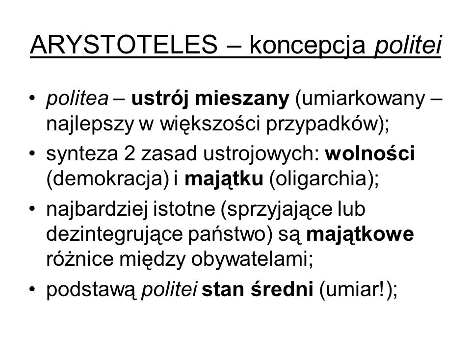 ARYSTOTELES – koncepcja politei