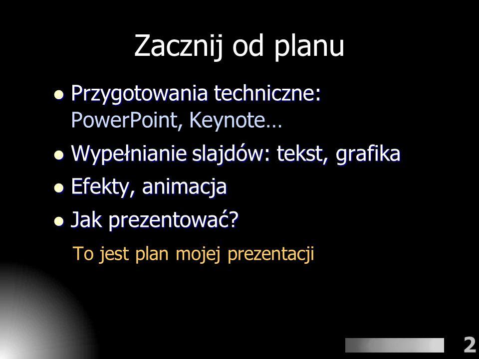 Zacznij od planu Przygotowania techniczne: PowerPoint, Keynote…