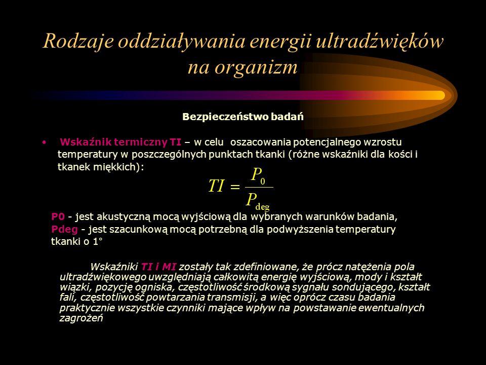Rodzaje oddziaływania energii ultradźwięków na organizm