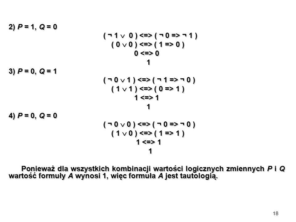 2) P = 1, Q = 0 ( ¬ 1  0 ) <=> ( ¬ 0 => ¬ 1 ) ( 0  0 ) <=> ( 1 => 0 ) 0 <=> 0. 1. 3) P = 0, Q = 1.