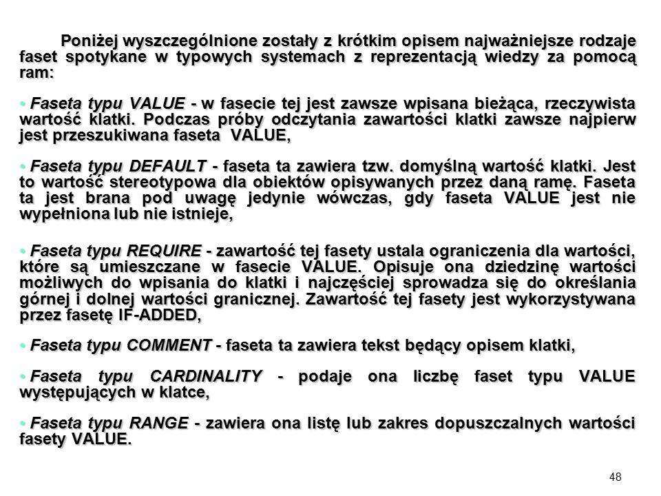 Poniżej wyszczególnione zostały z krótkim opisem najważniejsze rodzaje faset spotykane w typowych systemach z reprezentacją wiedzy za pomocą ram:
