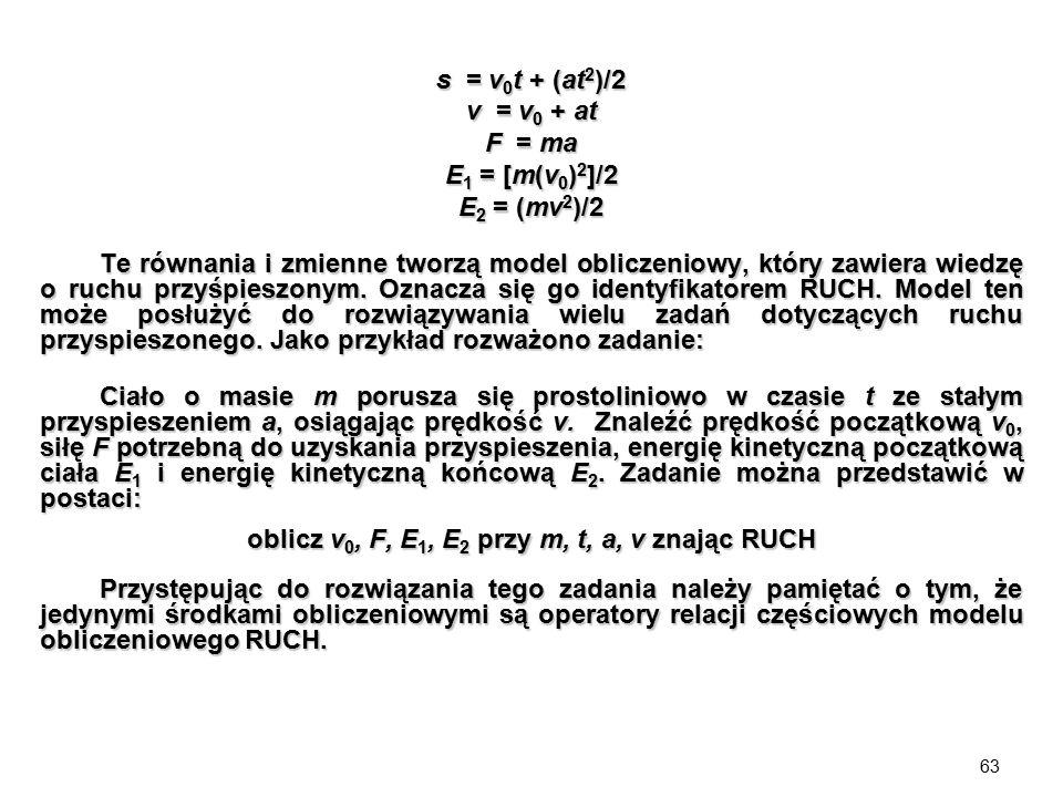 oblicz v0, F, E1, E2 przy m, t, a, v znając RUCH