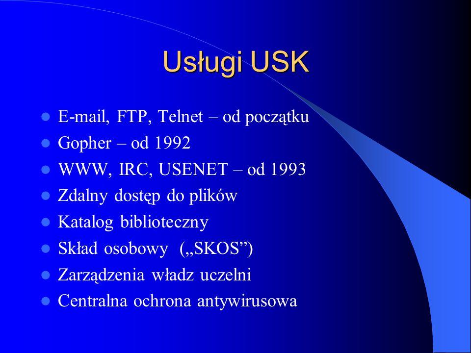 Usługi USK E-mail, FTP, Telnet – od początku Gopher – od 1992
