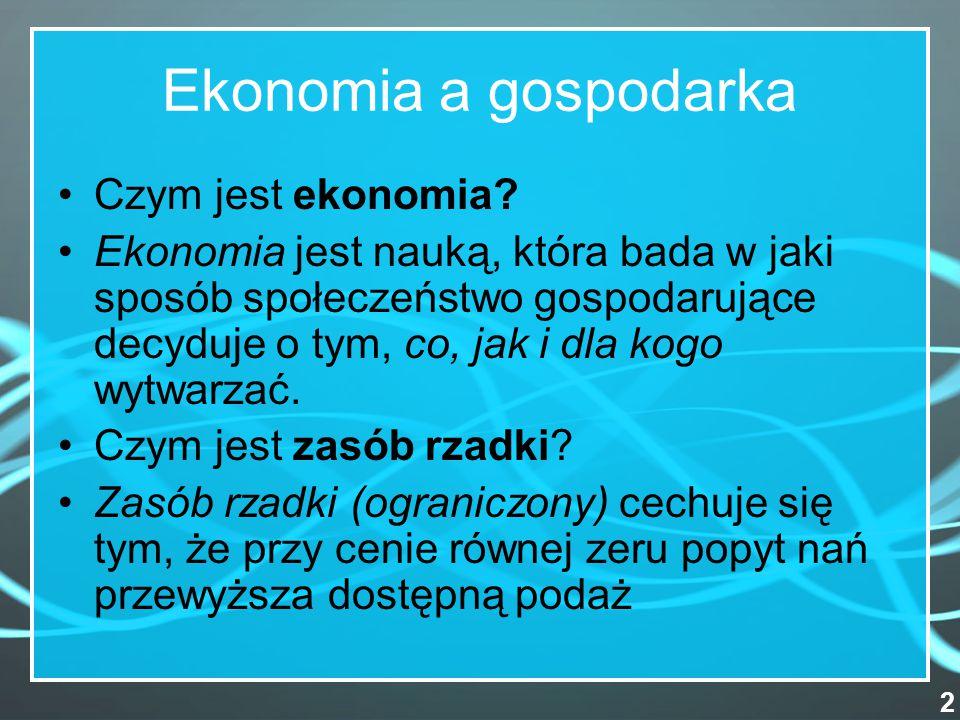 Ekonomia a gospodarka Czym jest ekonomia