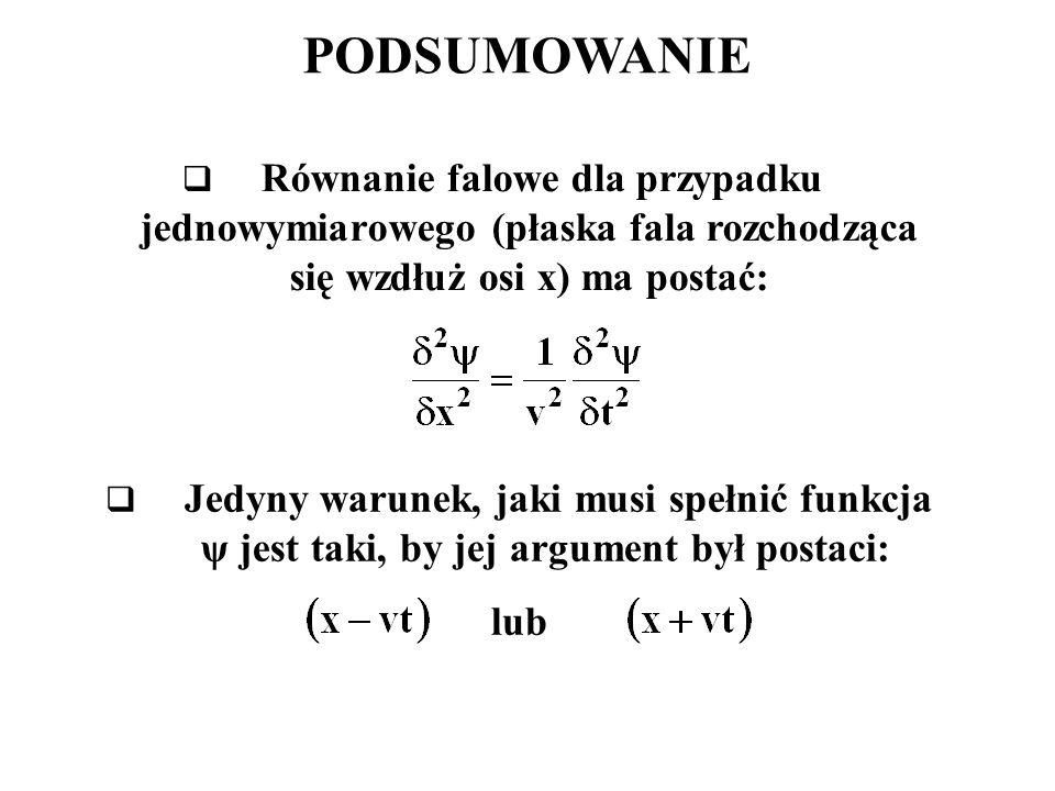 PODSUMOWANIE Równanie falowe dla przypadku jednowymiarowego (płaska fala rozchodząca się wzdłuż osi x) ma postać: