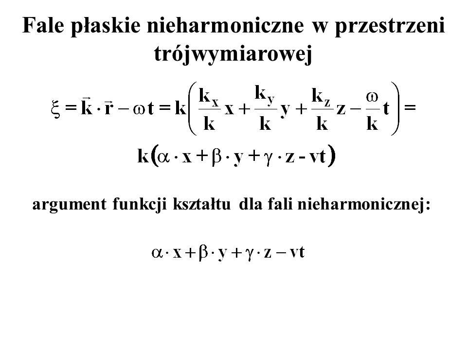 Fale płaskie nieharmoniczne w przestrzeni trójwymiarowej