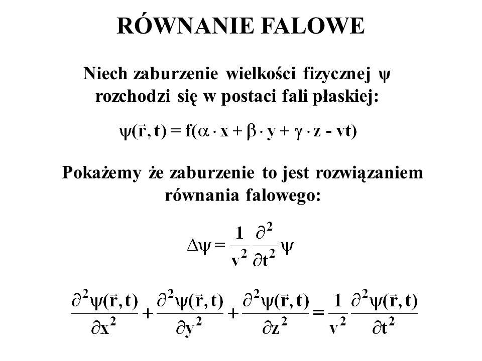 Pokażemy że zaburzenie to jest rozwiązaniem równania falowego: