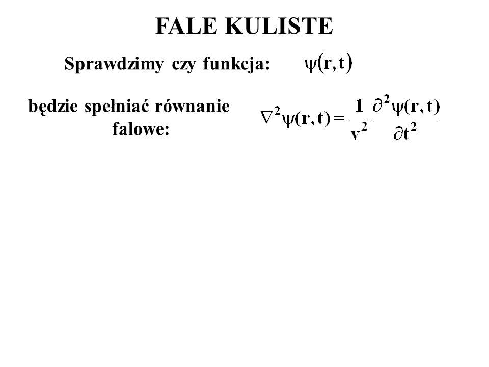Sprawdzimy czy funkcja: będzie spełniać równanie falowe: